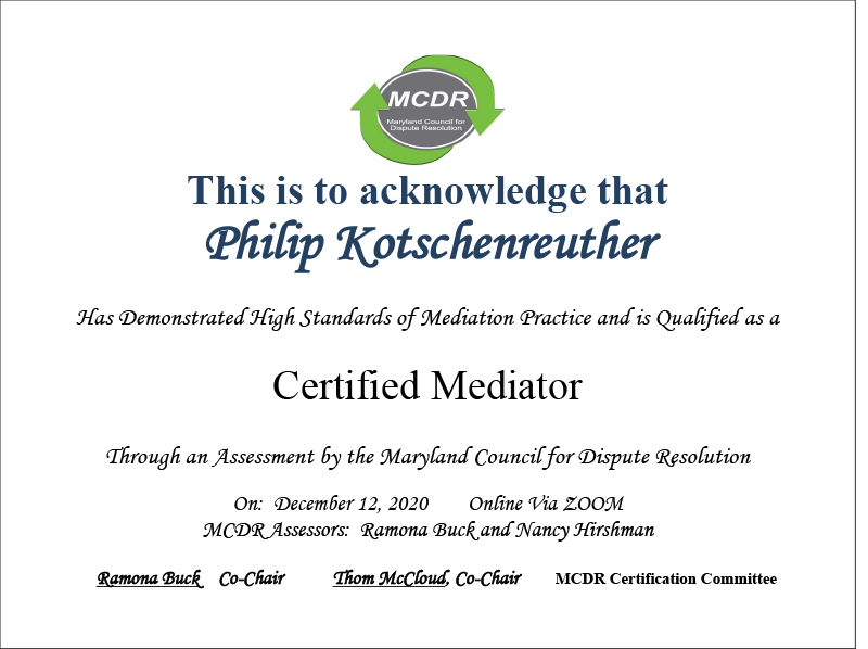 Phil Kotschenreuther Awarded MCDR Certificate