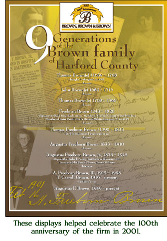 9 Generation of the Brown family in Maryland./> <p>Although by now the prolific Brown(e) numbered some of Harford's most prominent landowners and citizens, this Freeborn Brown &mdash; our 4th generation Brown, and evidently the first of his line to drop the