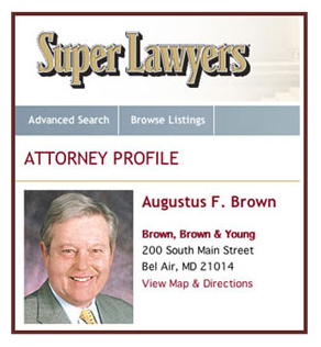 SuperLawyer designation for Augustus F. Brown